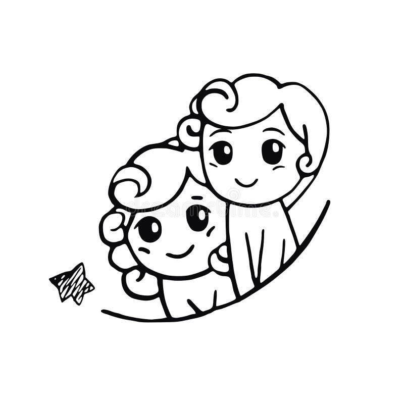 Tvillingarna med en stjärna stock illustrationer