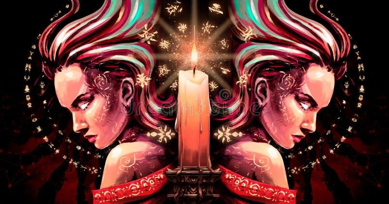 Tvillingarna med gnistor från ögonen och stearinljuset vektor illustrationer