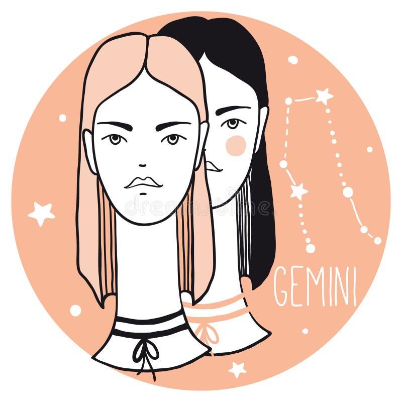 Tvillingarnaflickor Skissa stilkvinnan med zodiaktecknet stock illustrationer