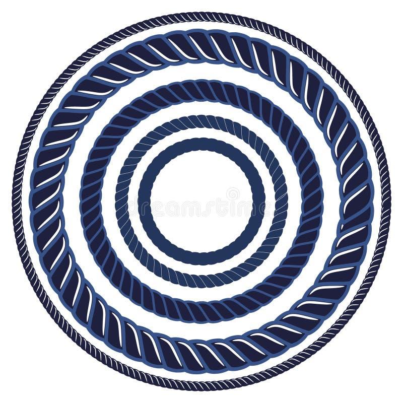 Tvinna den marinblåa marin- borsten för repet Modellradgräns stock illustrationer