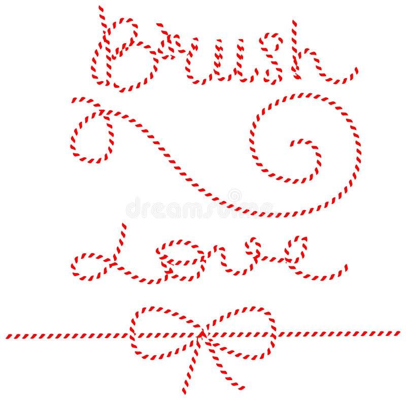 Tvinna reppilbågar, gåvaband Röd och vit rad vektor illustrationer