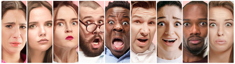 Tvivelaktigt folk med det fundersamma uttryckt, idérik collage arkivbilder