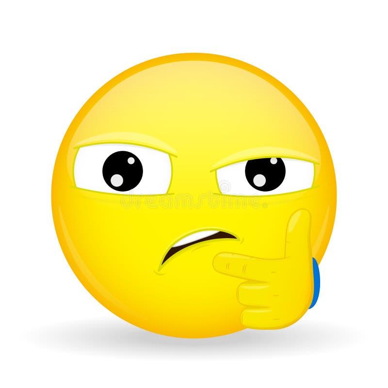 Tvivla emoji Sinnesrörelse av misstro som misstänker emoticonen stock illustrationer