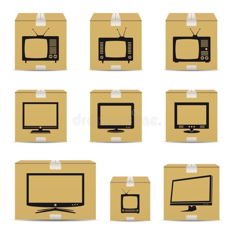 TVkartonger royaltyfri illustrationer