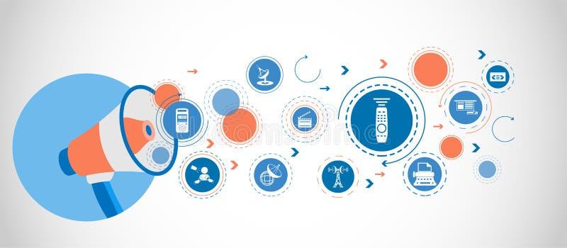 Tvkontrollsymbol Detaljerade uppsättningsymboler av massmediabeståndsdelsymbolen Högvärdig kvalitets- grafisk design En av samlin royaltyfri illustrationer