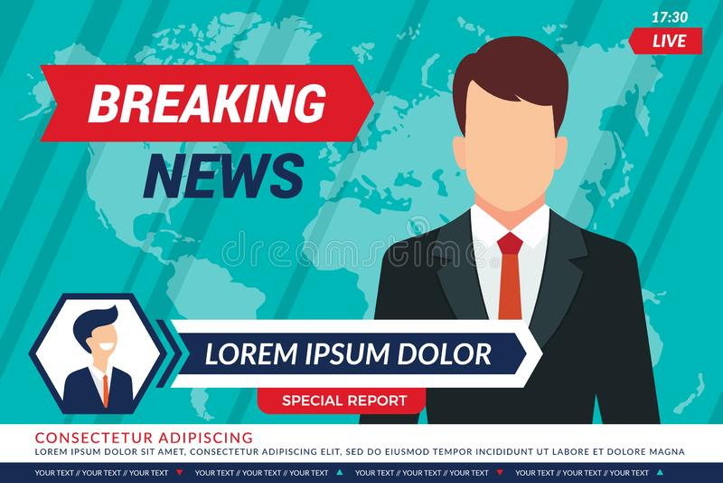 Tvnyheternabakgrund Sporttelevisionankare, i att sända för vektor för studiobreaking newsstänger royaltyfri illustrationer