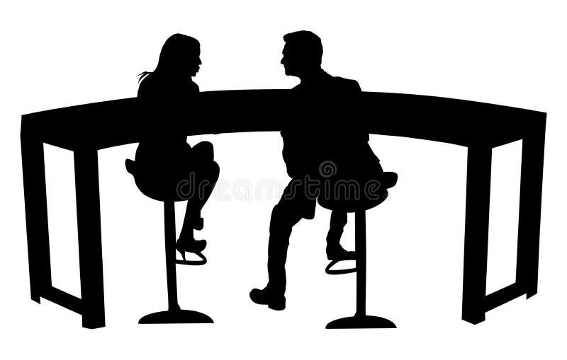 Tvpresentatörer i konturn för tvstudiovektor som isoleras på vit bakgrund royaltyfri illustrationer