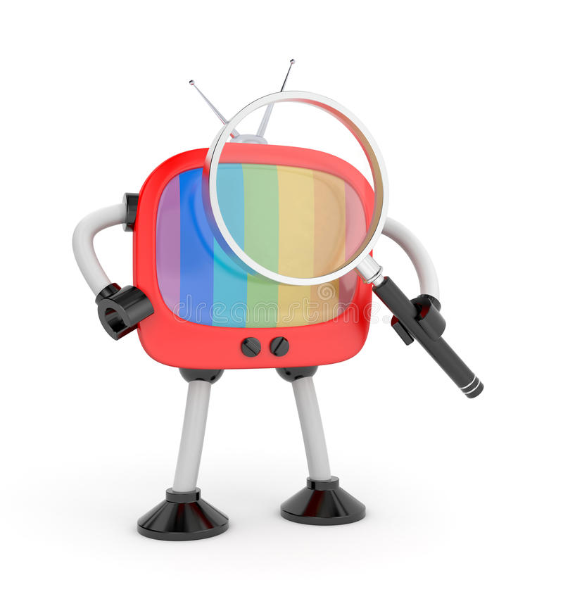 Tvroboten med förstorar exponeringsglas stock illustrationer