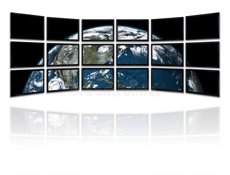 TVs Panel. Big panel of TVs showing a presentation with the earth planet Background made with old textured paper with a world map - Earth planet image courtesy