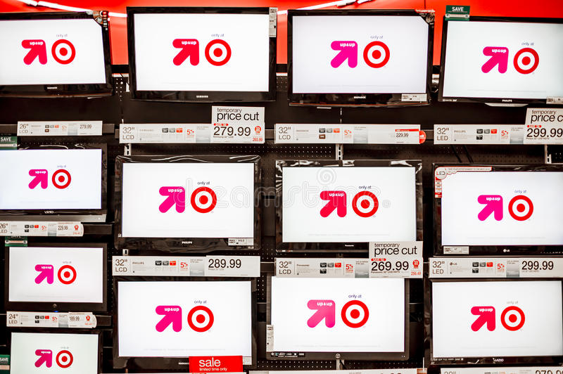 TVs for Sale. August 11, 2012. Target, Fresno, California, USA. Target is an upscale discounter that provides high-quality, on-trend merchandise at attractive royalty free stock image