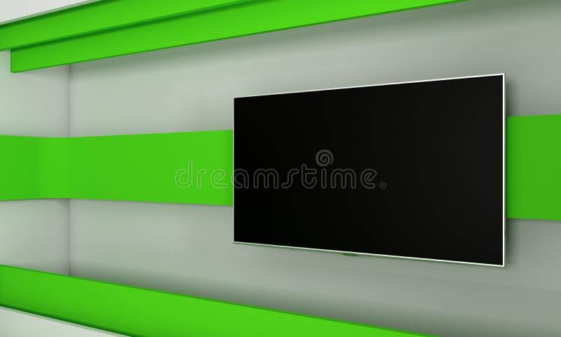 TVstudio Bakgrund för TV-program TV på väggen Nyheternastudio Den perfekta bakgrunden för något grön skärm eller video eller foto vektor illustrationer