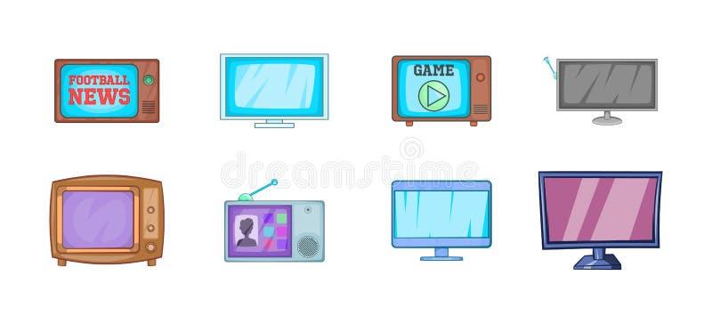 Tvsymbolsuppsättning, tecknad filmstil vektor illustrationer