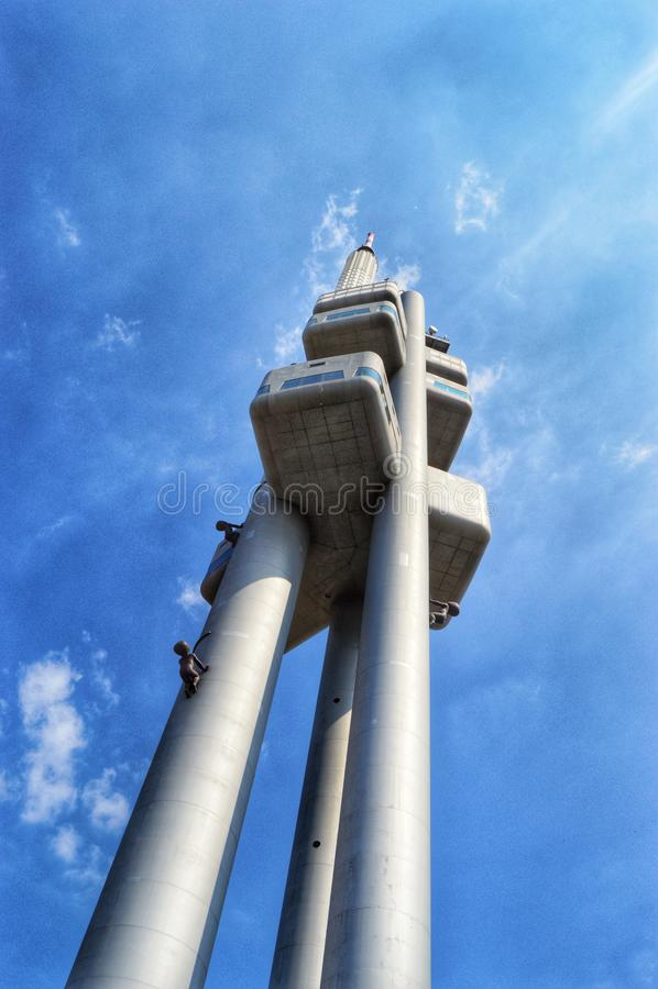 TVtorn på Zizkov, Prague royaltyfria foton