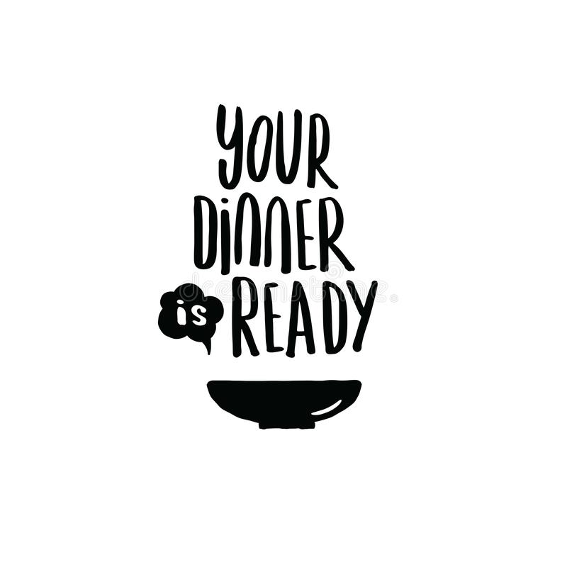 Twój gość restauracji jest gotowy Ręka pisać piszący list plakat Ilustracja talerz ilustracja wektor
