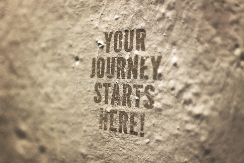 Twój podróż Zaczyna Tutaj Konceptualnego wizerunek zdjęcie royalty free