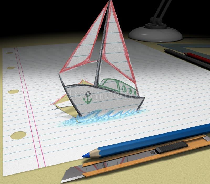 twój szkic łódź sen obrazy stock