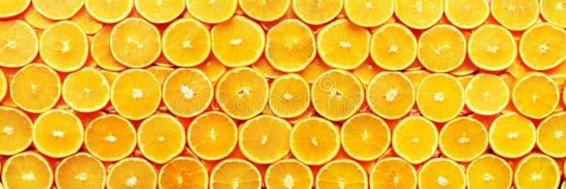 twórcze wektor wzoru Świeża pokrojona pomarańczowa owocowa tekstura Makro-, odgórny widok z kopii przestrzenią, Jedzenie rama soc zdjęcia stock