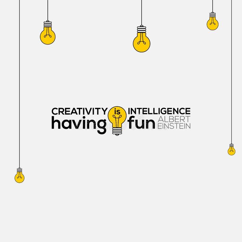 Twórczość jest inteligencją ma zabawy ścienną sztukę, Albert Einstein wycena, twórczość jest inteligencją ma zabawę, twórczości w ilustracja wektor