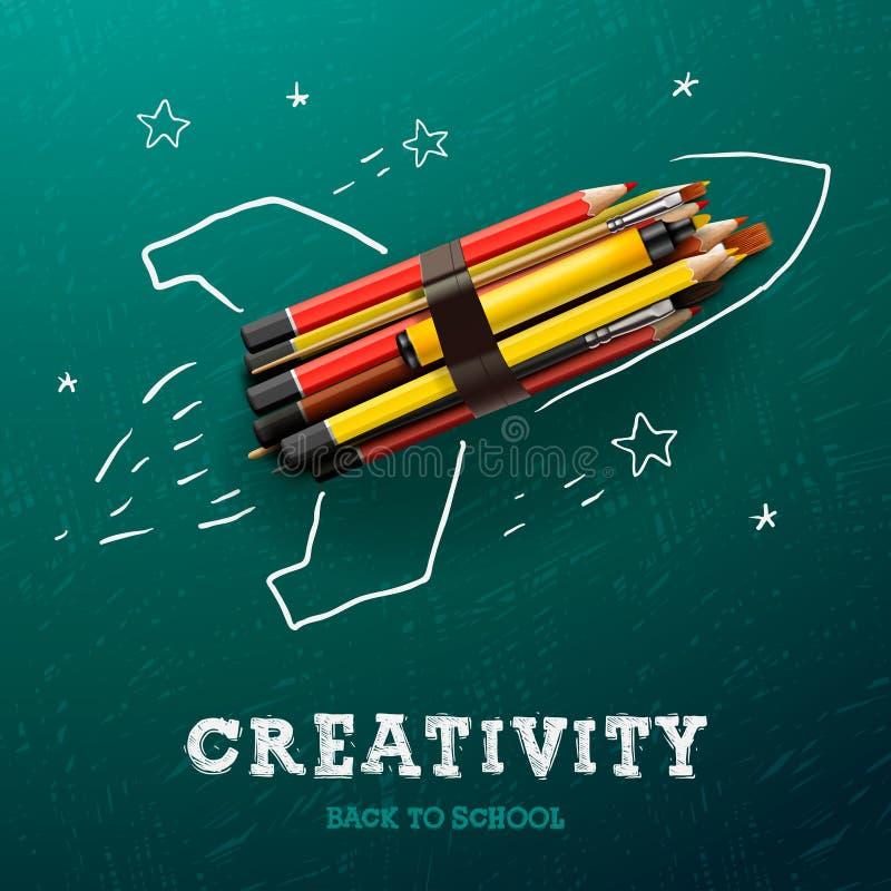 Twórczość uczenie Rakieta z ołówkami royalty ilustracja
