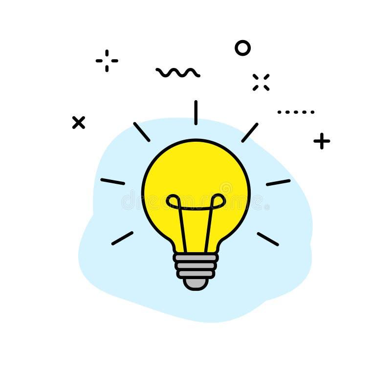 Twórczości i pomysłu sieci ikony w kreskowym stylu Twórczość, Znajduje rozwiązanie, Brainstorming, Kreatywnie główkowanie, mózg w ilustracja wektor
