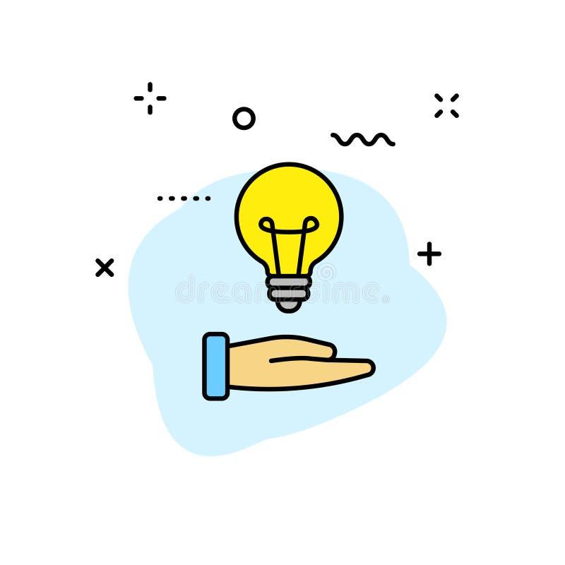Twórczości i pomysłu sieci ikony w kreskowym stylu Twórczość, Znajduje rozwiązanie, Brainstorming, Kreatywnie główkowanie, mózg w ilustracji