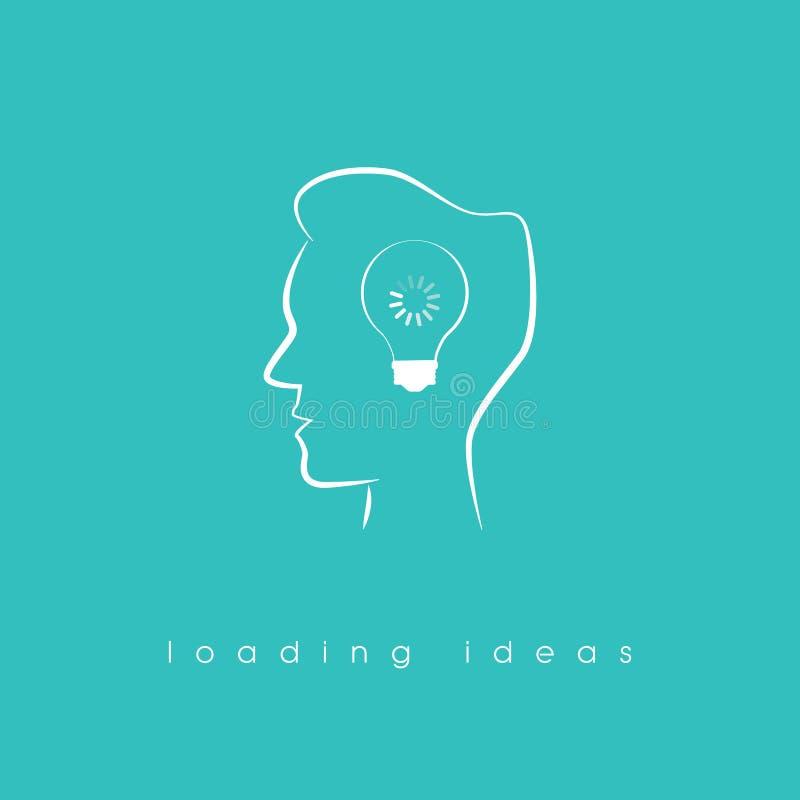 Twórczości pojęcie z kreskowej sztuki głowy symbolem i ładowniczą ikoną jak znaka brainstorming ilustracji