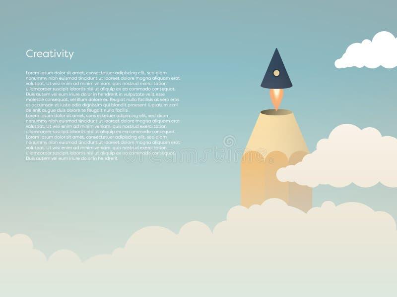 Twórczości wektorowy pojęcie z ołówkową poradą lata daleko jako rakieta nad chmury w niebo Symbol brainstorming royalty ilustracja