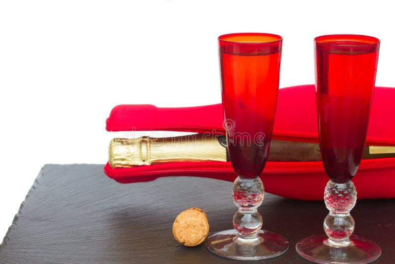 Tw杯圣诞节香槟 库存照片