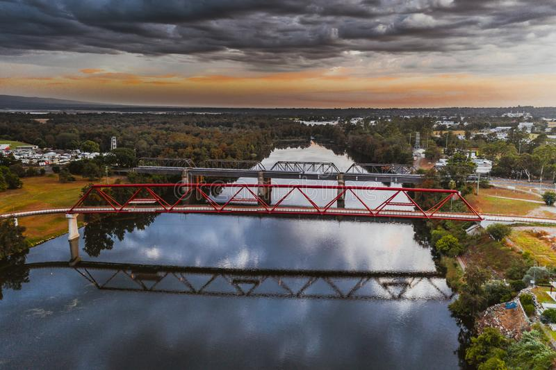 Tw bridges over Nepean River Penrith stock photo