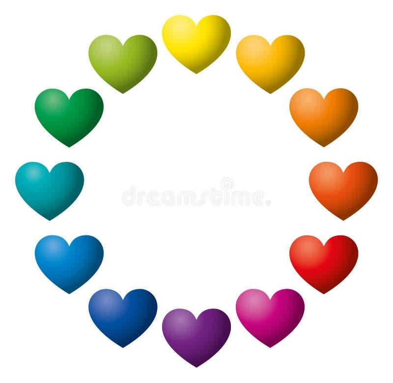 Twaalf die harten van de regenboogkleur in een cirkel worden geschikt stock illustratie