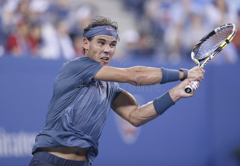 Twaalf keer Grote Slagkampioen Rafael Nadal tijdens zijn vierde ronde gelijke bij US Open 2013 tegen Philipp Kohlschreiber stock fotografie