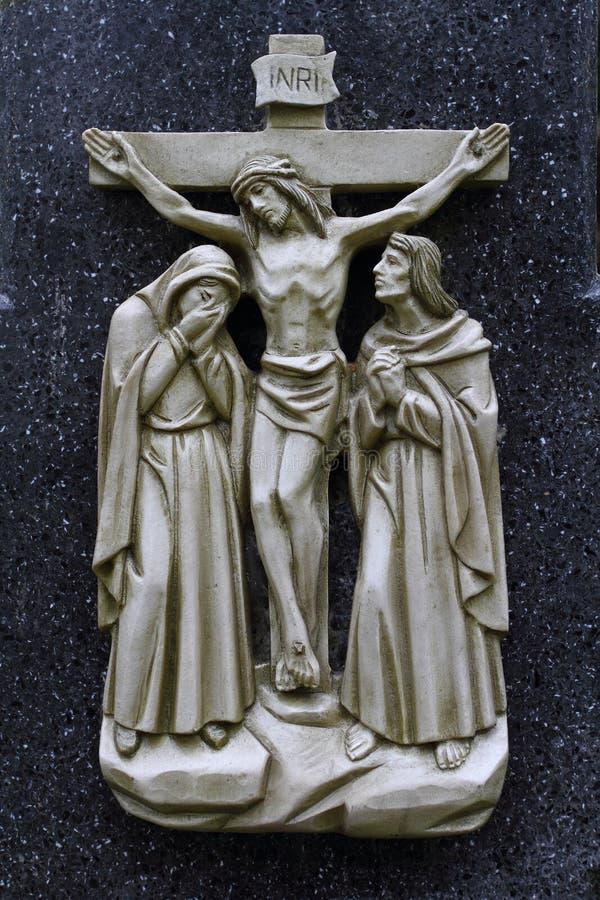 Twaalfde Post van via Dolorosa, Crucification royalty-vrije stock fotografie