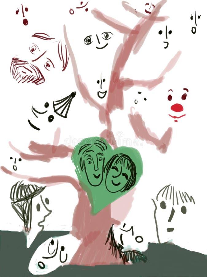 twarzą do drzewa ilustracji