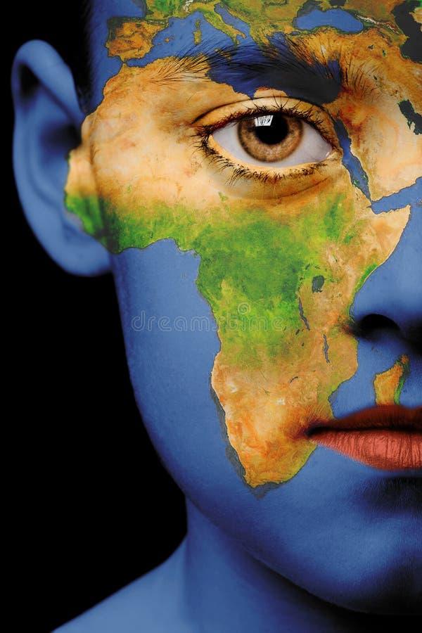 twarzą do farby afryce obrazy stock