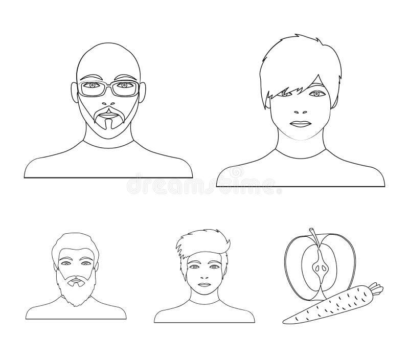 Twarz Łysy mężczyzna z szkłami i broda, brodaty mężczyzna pojawienie facet z uczesaniem Twarz i royalty ilustracja