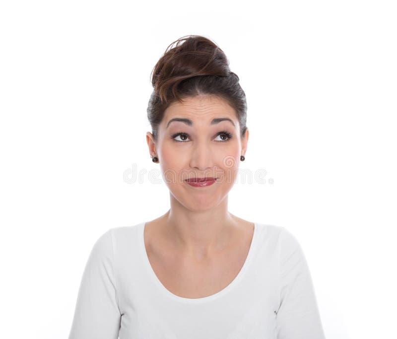 Twarz śmieszna młoda kobieta odizolowywająca na bielu. obraz royalty free