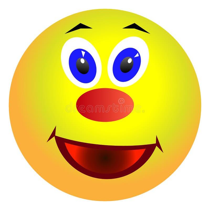 Twarz, żółty smiley rozochocony ilustracja wektor