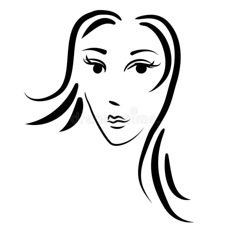 twarz abstrakcyjna zarys kobieta royalty ilustracja