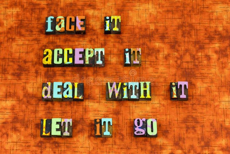 Twarz akceptuje zaprzecza dzisiaj uczy się letterpress zdjęcie royalty free