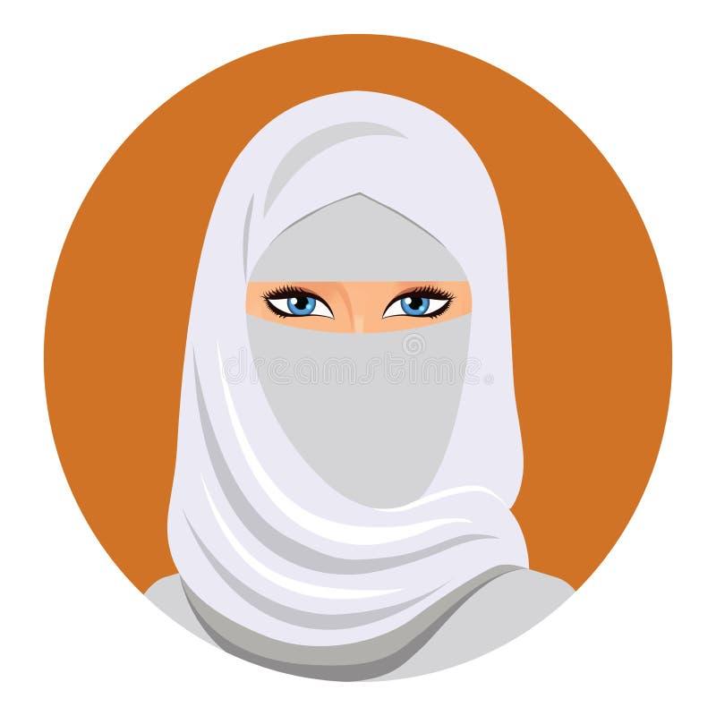 Twarz arabska muzułmańska kobieta, wektorowa ilustracja Portret arabska piękna kobieta w białym hijab ilustracji
