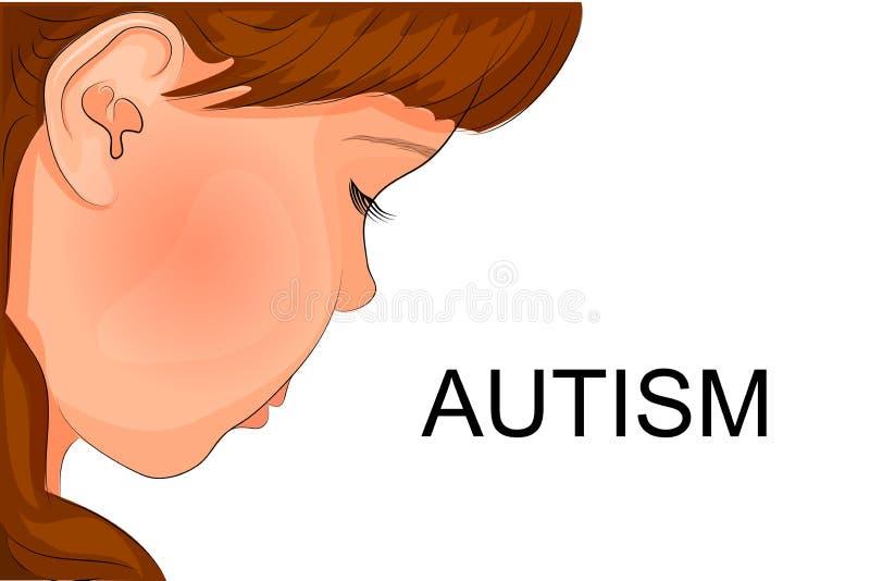 Twarz autystyczny dziecko ilustracja wektor