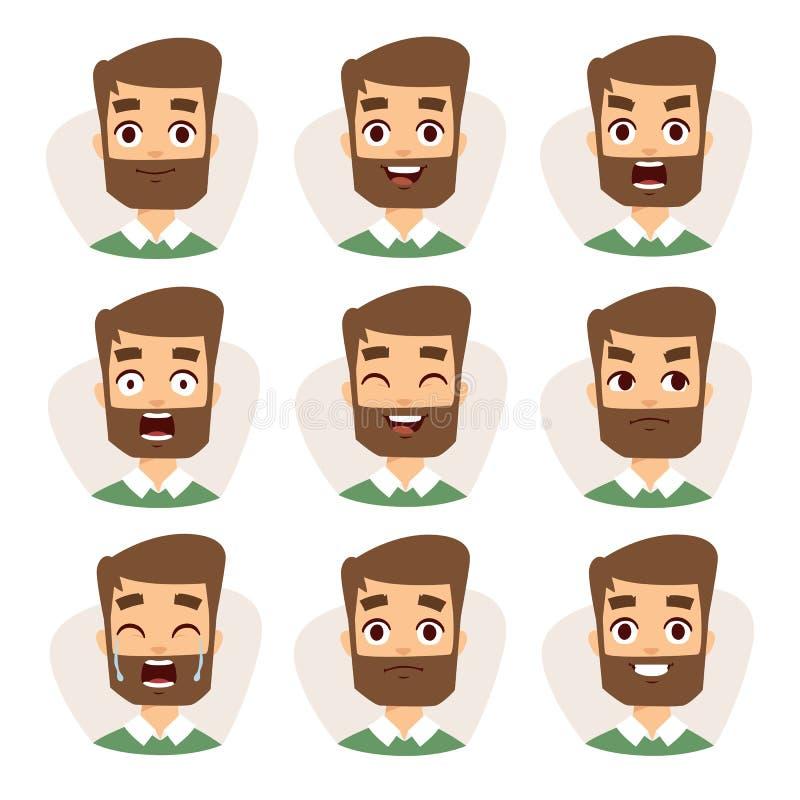 Twarz charakterów wektorowa mozaika młody broda mężczyzna wyraża różne emocj ikony royalty ilustracja