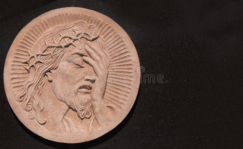 Twarz jezus chrystus korona cierń statua zdjęcia royalty free