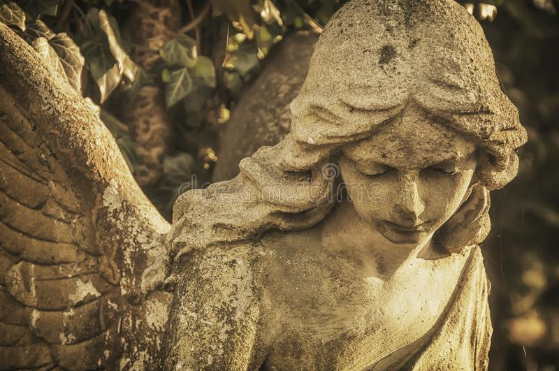 Twarz kamienny antykwarski anio? zdjęcia royalty free
