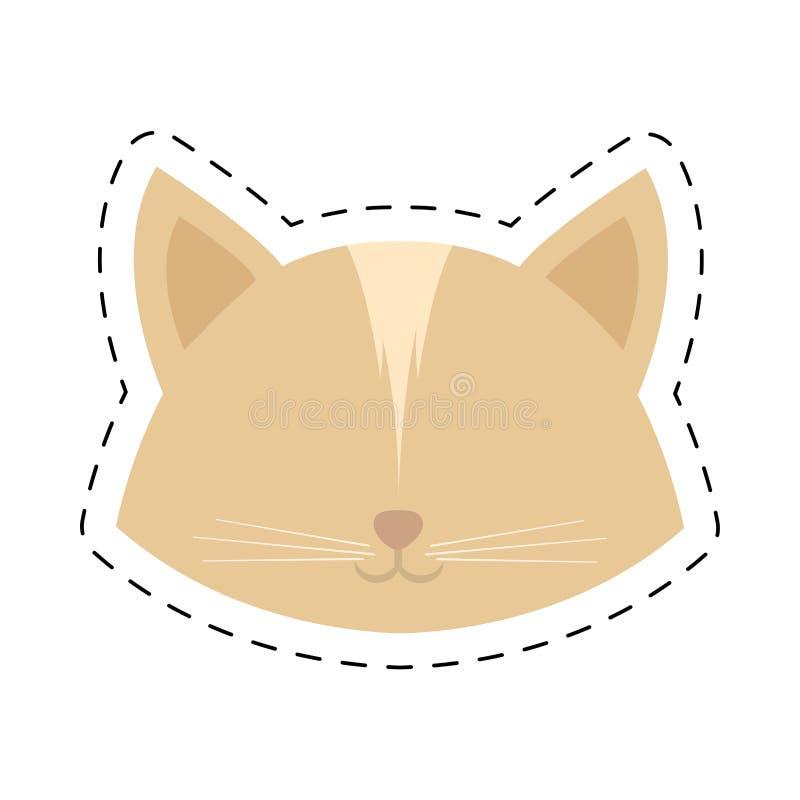 twarz kota żeńska kierownicza linia kropkująca ilustracja wektor