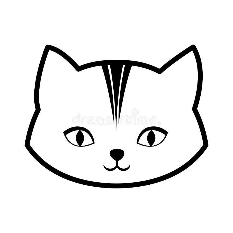 twarz kota koci ciekawy mały kontur ilustracja wektor