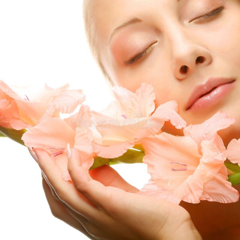 twarz kwitnie świeżego gladiolusa wręcza ona zdjęcia stock
