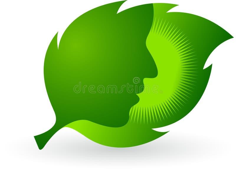 Twarz liścia logo royalty ilustracja