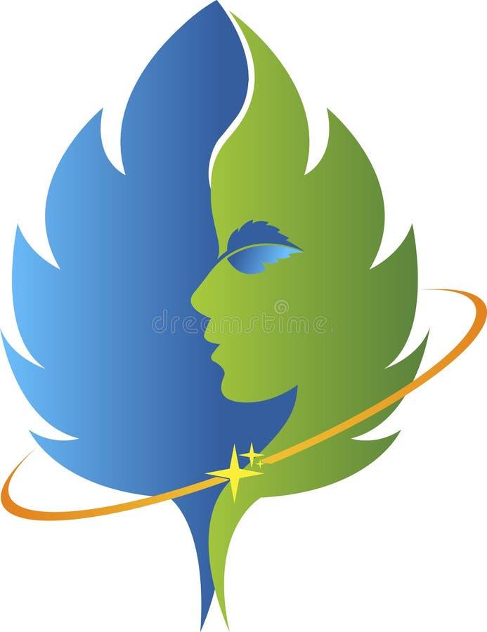 Twarz liścia logo ilustracja wektor