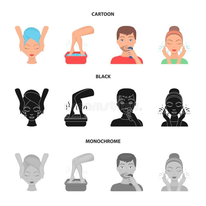 Twarz masaż, stopy skąpanie, golenie, twarzy domycie Skóry opieki ustalone inkasowe ikony w kreskówce, czerń, monochromu stylowy  ilustracja wektor
